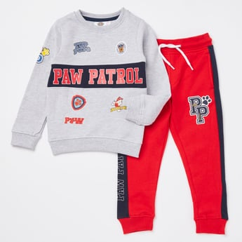 Paw Patrol Print Round Neck Sweatshirt and Jog Pants Set