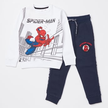 Spider-Man Print Long Sleeves Sweatshirt and Jog Pants Set