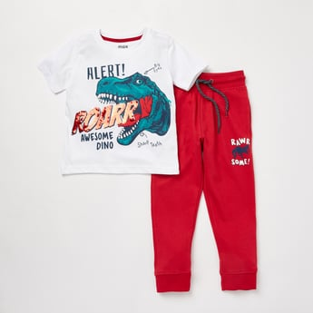 Dino Print Round Neck T-shirt and Full Length Joggers Set