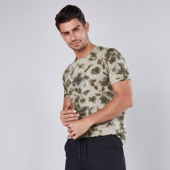 Slim Fit Printed Round Neck T-shirt with Short Sleeves