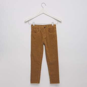 5-Pockets Textured Jeans with Button Closure