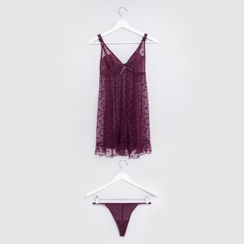 Textured Lace Detail Babydoll with Thongs