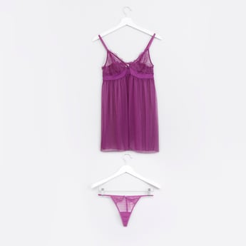 Lace Detail Babydoll with Thongs