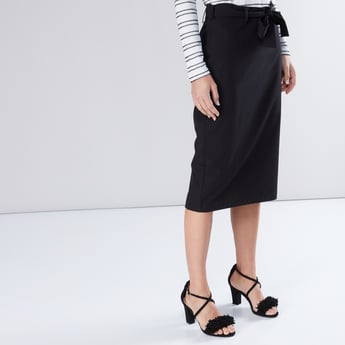 Midi Pencil Skirt with Tie Up Belt