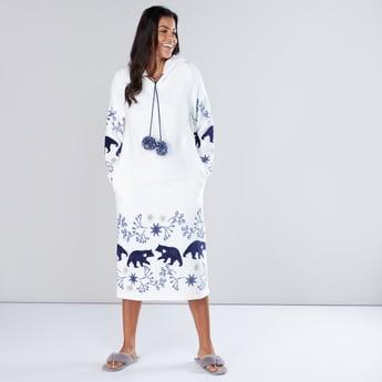 Printed Long Sleeves Sleep Dress with Hood and Pom-Pom Detail