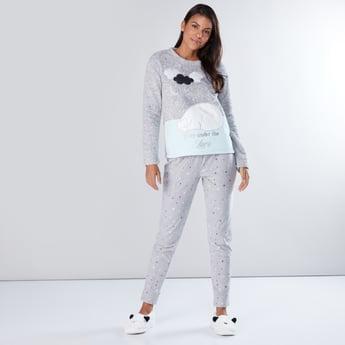 Textured Long Sleeves T-Shirt and Printed Pyjama Set