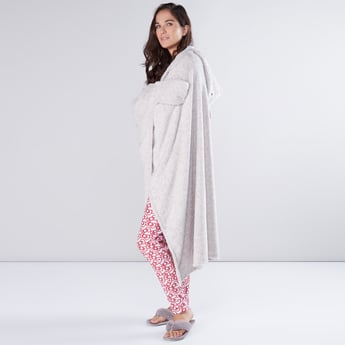 Plush Open Front Robe with Hood
