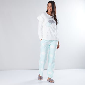 Embroidered Ruffle Detail T-Shirt and Full Length Pyjama Set