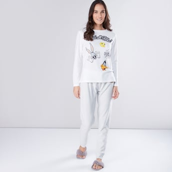 Looney Tunes Printed T-Shirt with Jog Pants