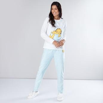 Garfield Printed Long Sleeves T-Shirt and Pyjama Set