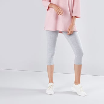 Plain Mid-Rise Cropped Leggings with Elasticised Waistband