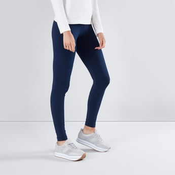 Full Length Plain Leggings with Elasticised Waistband