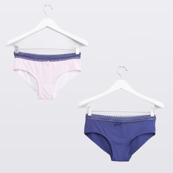 Set of 2 - Solid Bikini Briefs with Lace Detail