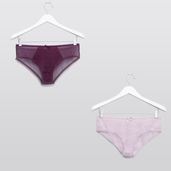 Set of 2 - Textured Hipster Briefs with Elasticised Waistband