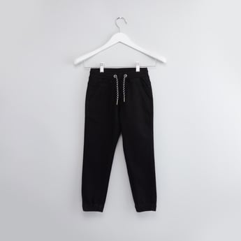 Plain Denim Jog Pants with Pocket Detail and Drawstring