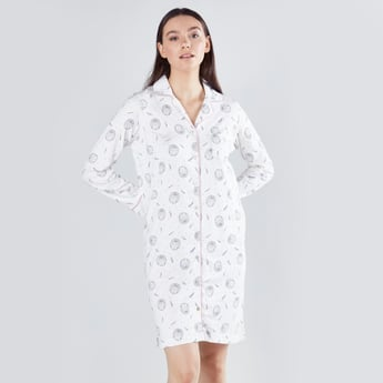 Printed Sleepshirt with Long Sleeves and Complete Placket