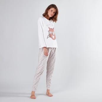 Printed Long Sleeves T-shirt and Pyjama Set
