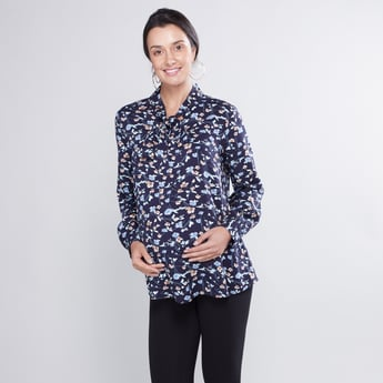 Printed Maternity Top with Necktie and Long Sleeves