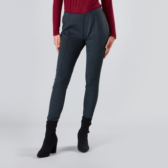 Chequered Ponte Leggings with Elasticised Waistband
