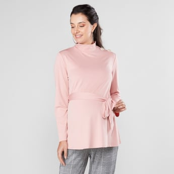 Maternity Plain Top with High Neck and Long Sleeves