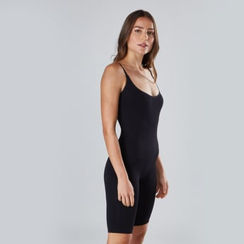 Knee Length Body Shapewear with Scoop Neck and Straps