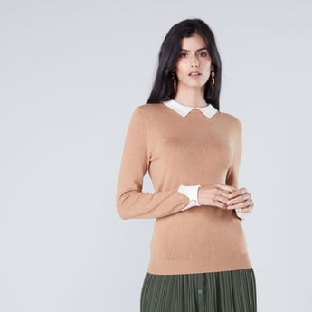Sweater with Collar and Long Sleeves