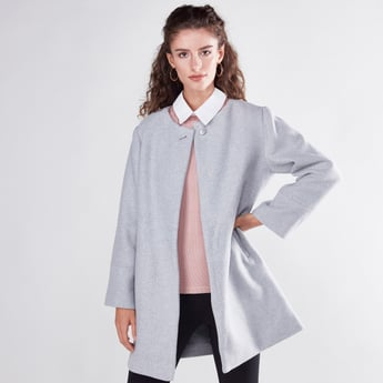 Plain Jacket with Long Sleeves and Pearl Detail