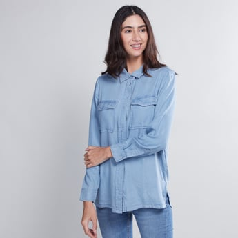 Plain Shirt with Long Sleeves and Pocket Detail