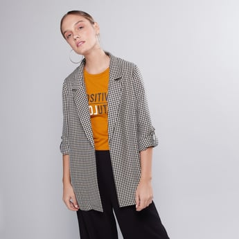 Chequered Jacket with Notched Lapel and Long Sleeves