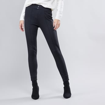 Houndstooth Printed Leggings with Elasticised Waistband