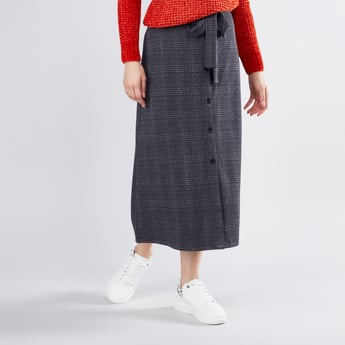 Chequered Midi A-line Skirt with Elasticised Waistband and Tie Ups