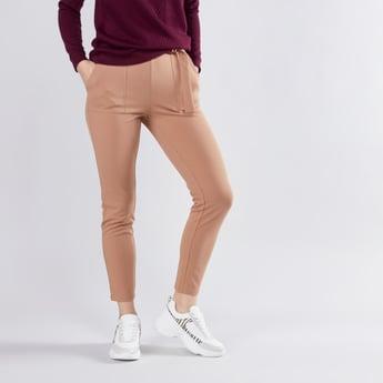 Plain Mid Waist Pants with Elasticised Waistband and Belt