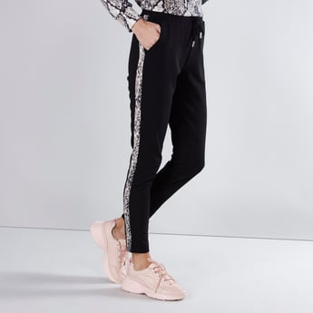 Mid-Rise Tape Detail Pants with Drawstring Closure