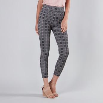 Checked Jacquard Ponte Pants with Elasticated Waistband