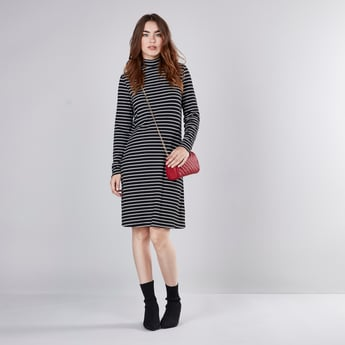 Striped Mini Shift Dress with Turtleneck and Long Sleeves