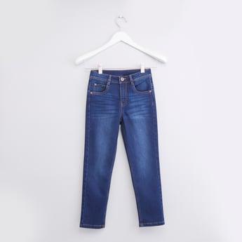 ببنطال جينز سادة طويل بجيوب وحلقات للحزام