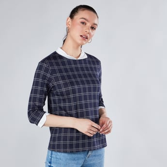 Chequered Top with 3/4 Sleeves and Spread Collar