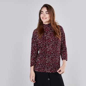 Printed Top with High Neck and 3/4 Sleeves