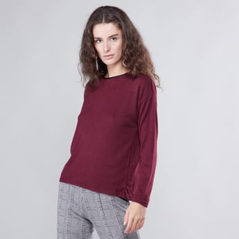 Solid T-shirt with Zip Closure and Long Sleeves