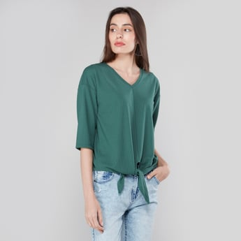 Textured T-shirt with 3/4 Sleeves and Tie Ups