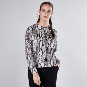 Animal Printed Sweatshirt with Long Sleeves