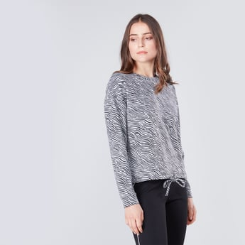 Printed Tie Up Top with Long Sleeves and Crew Neck