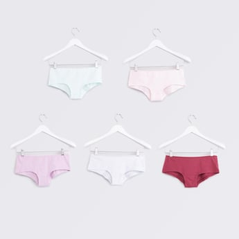 Set of 5 - Solid Boyshorts with Elasticised Waistband