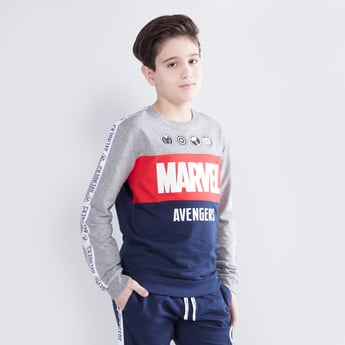 Marvel Printed Sweatshirt with Round Neck and Long Sleeves