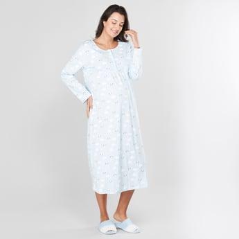 قميص نوم للحوامل بأكمام طويلة وطبعات