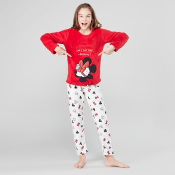 Minnie Mouse Printed T-shirt and Full Length Pyjama Set