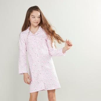 Printed Sleepshirt with Long Sleeves