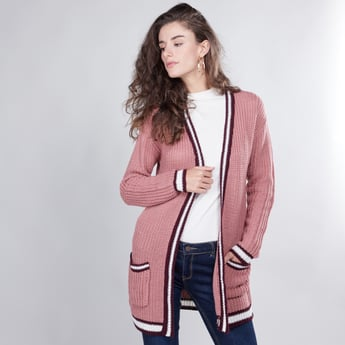 Textured Long Line Cardigan with Long Sleeves and Pocket Detail