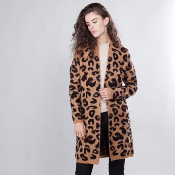 Animal Printed Coat with Long Sleeves