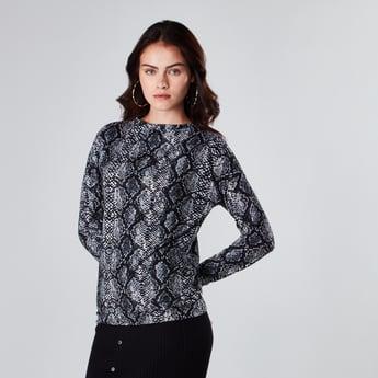 Reptilian Print Crew Neck Sweater